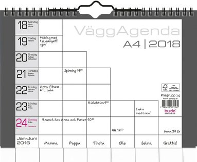 Väggkalender 2018 Väggagenda A4 1