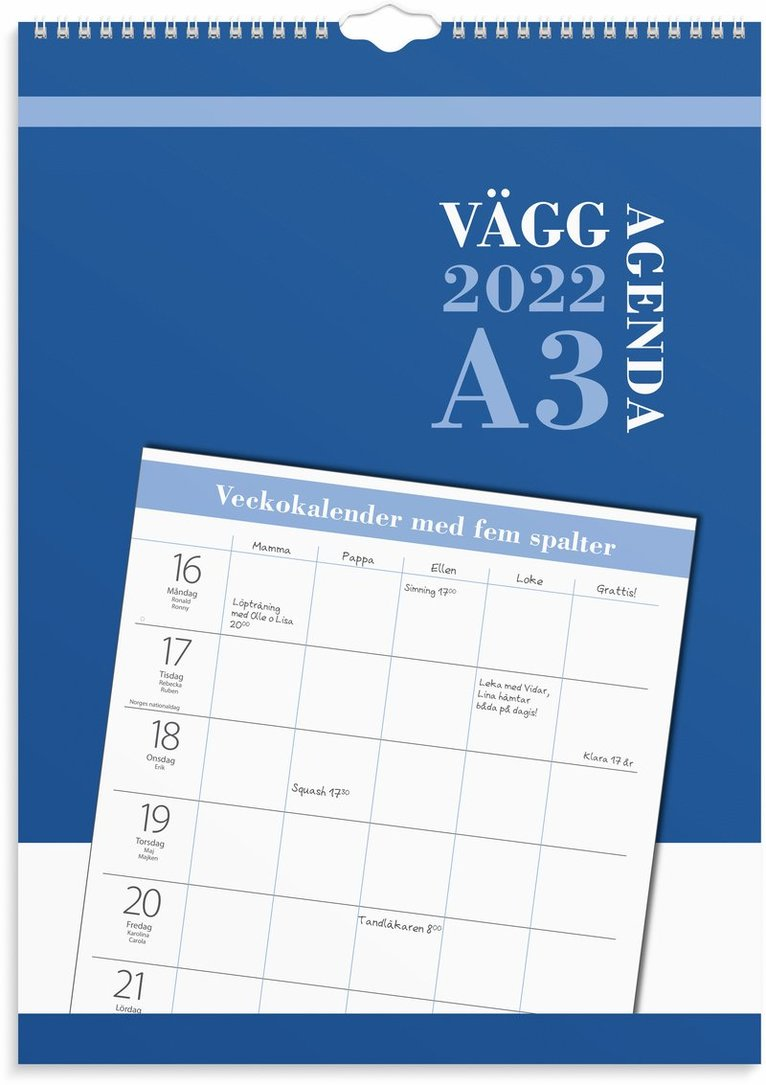 Väggkalender 2022 Väggagenda A3 1