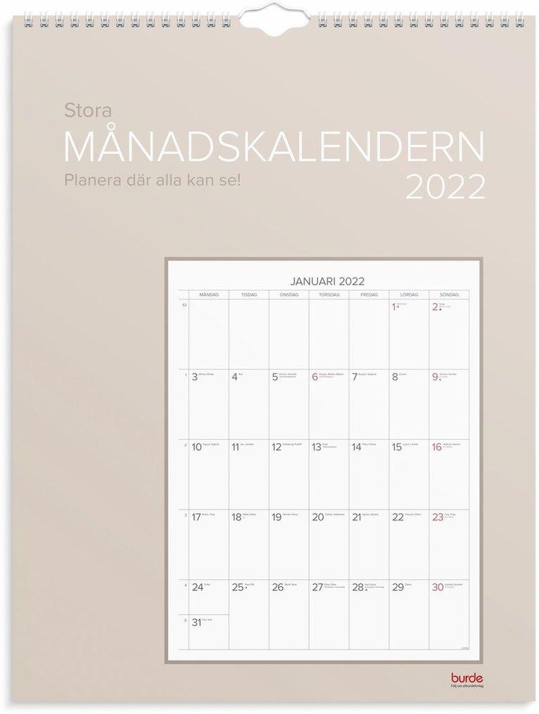 Väggkalender 2022 Stora Månadskalendern 1