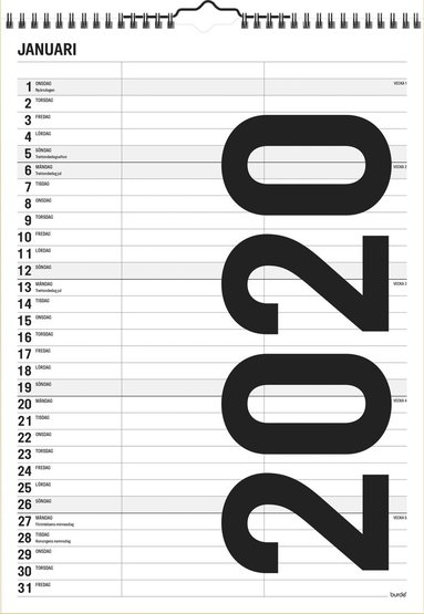 Väggkalender 2020 Black and white 1