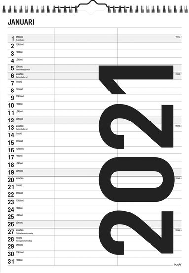 Väggkalender 2021 Black and white 1