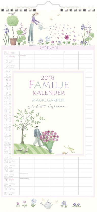 Väggkalender 2018 Familjekalender Magic Garden 1