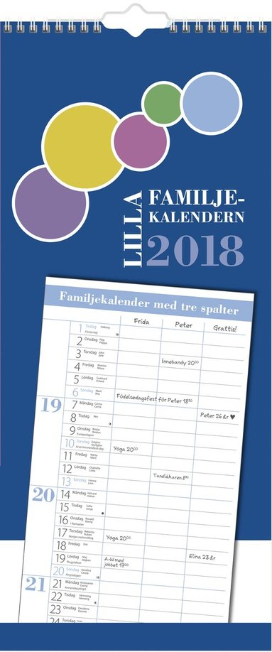 Väggkalender 2018 Lilla Familjekalendern 1