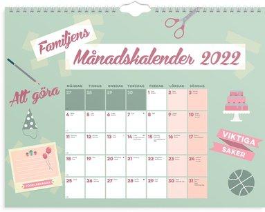 Väggkalender 2022 Familjens månadskalender