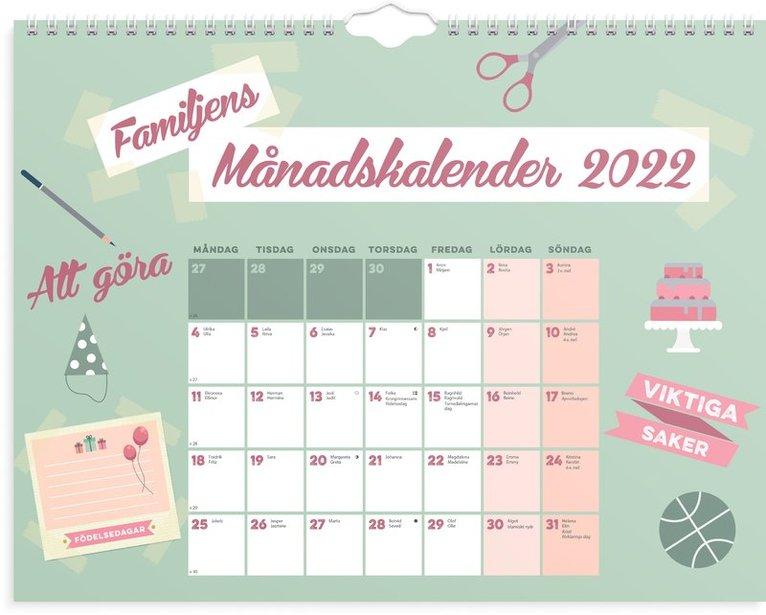 Väggkalender 2022 Familjens månadskalender 1