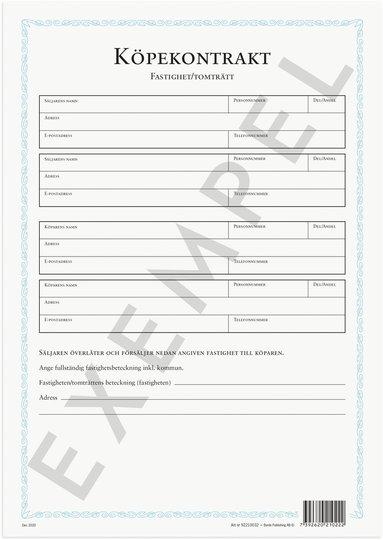 Blankett Köpekontrakt Fastighet/Tomträtt