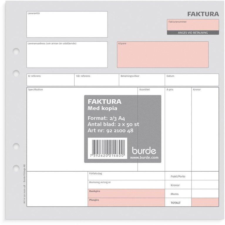 Faktura 2/3 A4 med 1 kopia, 2 x 50 blad 1