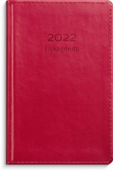 Kalender 2022 Fickagenda konstläder röd