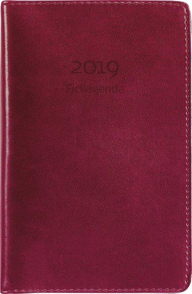 Kalender 2019 Fickagenda konstläder röd 1