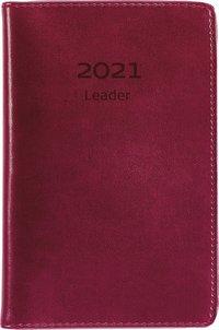 Kalender 2021 Leader konstläder röd