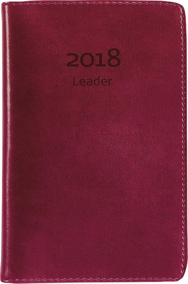 Kalender 2018 Leader konstläder röd 1
