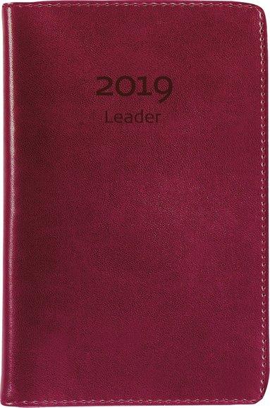 Kalender 2019 Leader konstläder röd 1