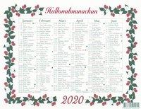 Väggblad 2020 Stora Hallonalmanackan