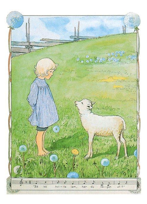 Kort Bä Bä vita lamm 1