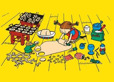 Kort Pippi Långstrump bakar