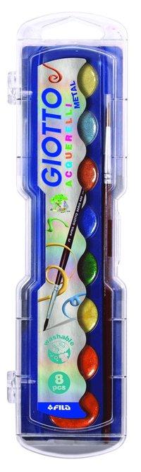 Vattenfärg Giotto Aquarelli Metallic 8 färger
