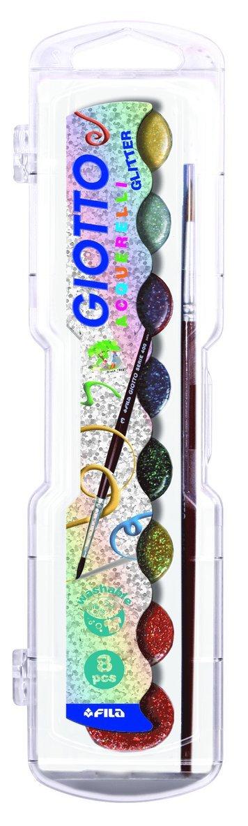 Vattenfärg Giotto Aquarelli Glitter 8 färger