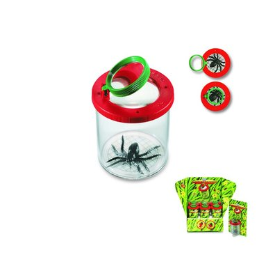 Insektsburk med förstoringsglas röd