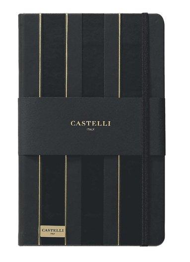 Anteckningsbok Castelli Large linjerad - Stripes svart & guld 1