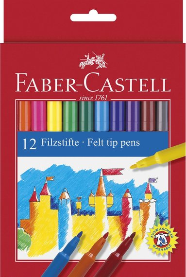 Fiberspetspenna Faber-Castell 12 färger