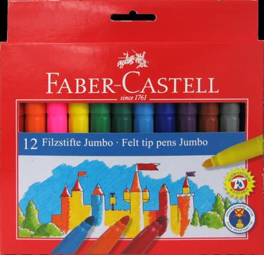 Fiberspetspenna Faber-Castell Jumbo Grip 12-pack