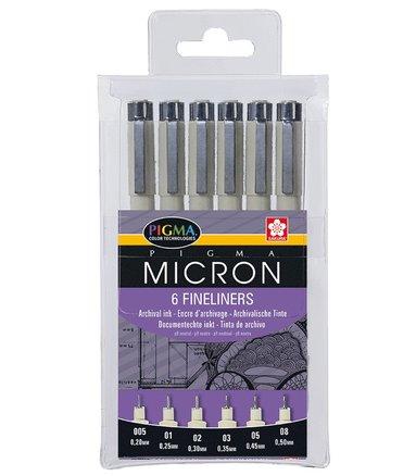 Tuschpenna Pigma Micron 6-pack svart 1