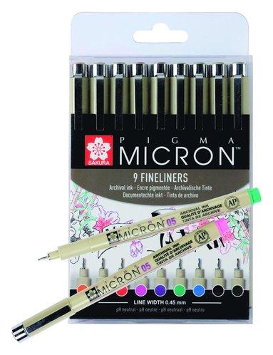 Tuschpenna Pigma Micron 05 9 färger