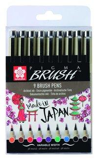 Tuschpenna Pigma Brush 9-pack