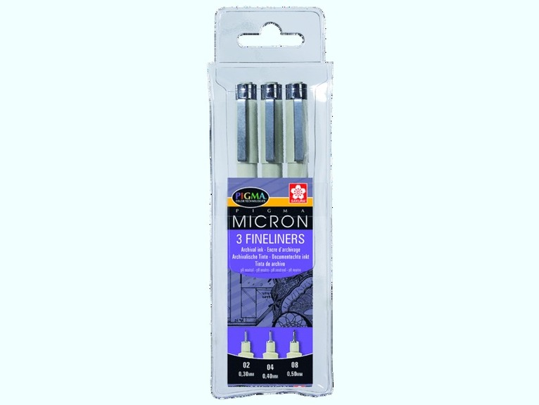 Tuschpenna Pigma Micron 3-pack svart 1