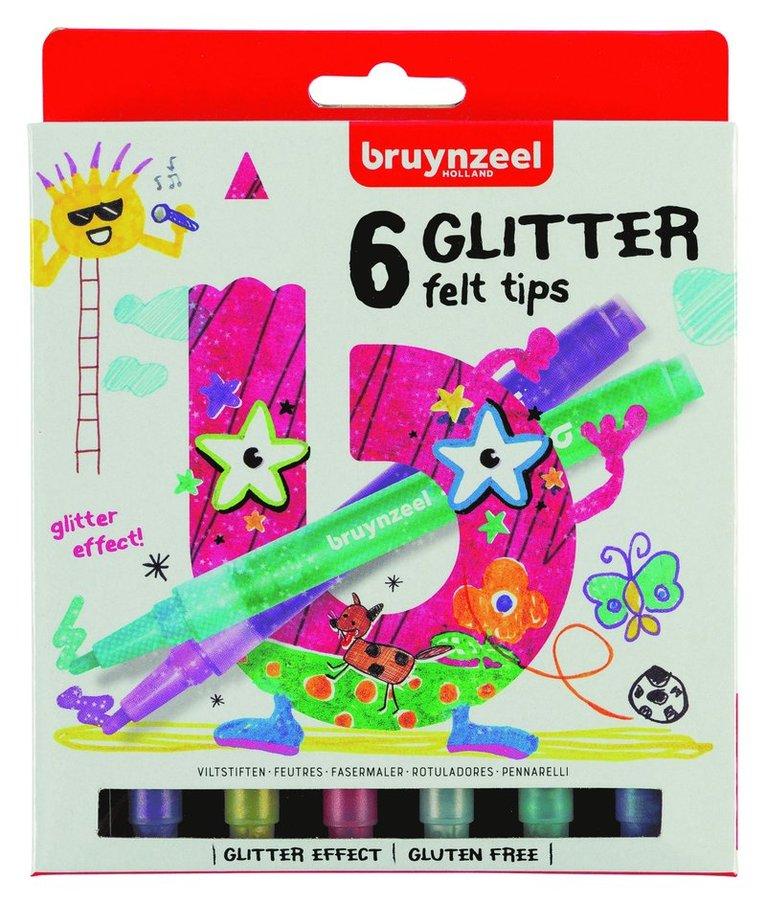 Fiberspetspenna Bruynzeel Glitter 6 färger 1