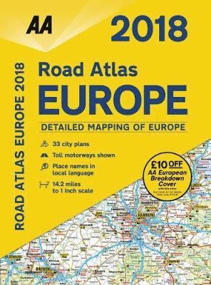 bokomslag AA Road Atlas Europe 2018