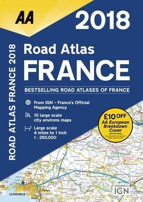 bokomslag AA Road Atlas France: 2018
