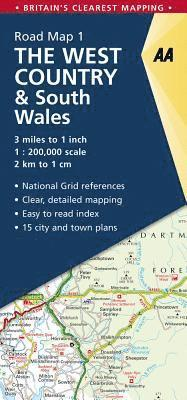 bokomslag West Country & Wales Road Map: AA Road Map Britain 1