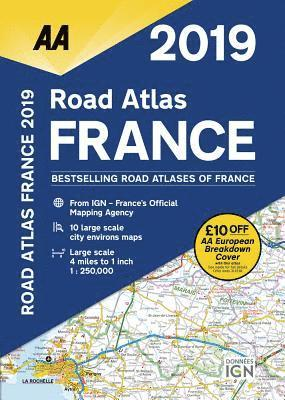 bokomslag AA Road Atlas France: 2019
