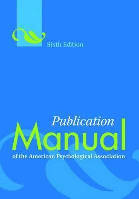bokomslag Publication manual of the american psychological association
