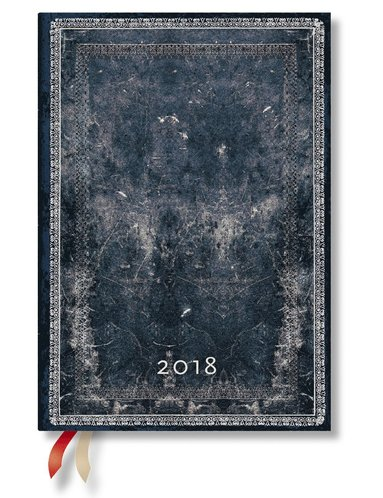 Kalender 2018 Paperblanks Midnight Steel Midi Vecka/Uppslag vertikal