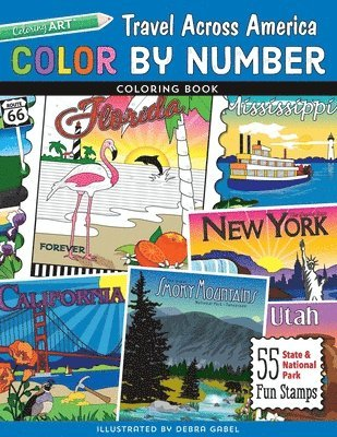 bokomslag Color by number travel across america coloring book - 55 fun state & nation