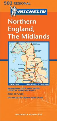 Midlands, The North Michelin 502 delkarta Storbritannien : 1:400000