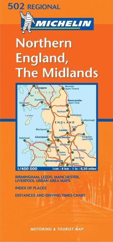 bokomslag Midlands, The North Michelin 502 delkarta Storbritannien : 1:400000