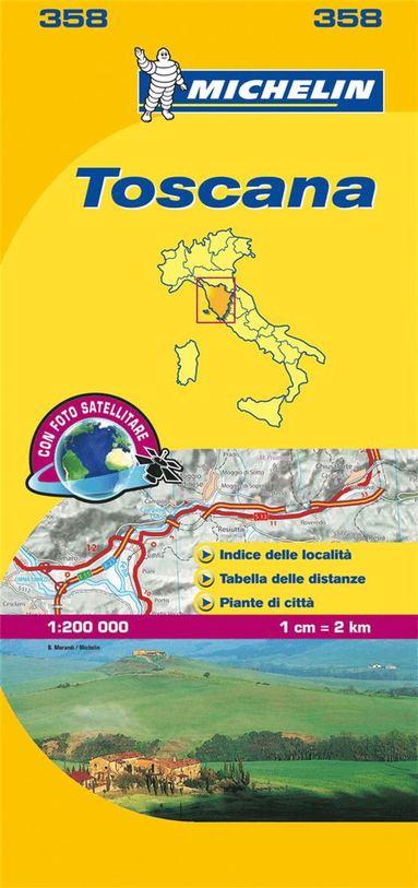 bokomslag Toscana Michelin 358 delkarta Italien : 1:200000