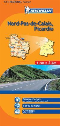 Nord Pas de Calais Picardie Michelin 511 delkarta Frankrike : 1:200000