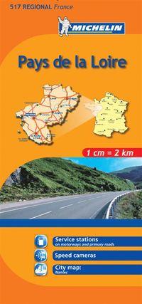Pays de Loire Michelin 517 delkarta Frankrike : 1:200000