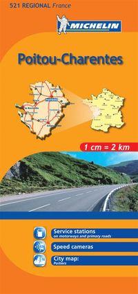 Poitou Charentes Michelin 521 delkarta Frankrike : 1:200000