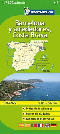 Barcelona y Alrededores Costa Brava Michelin 147 delkarta Spanien : 1:150000