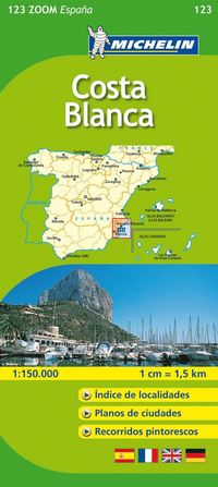 bokomslag Costa Blanca Michelin 123 delkarta Spanien : 1:130000