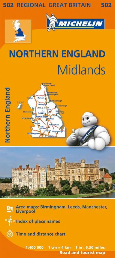 Midlands, The North Michelin 502 delkarta Storbr. : 1:400000