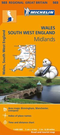 bokomslag Wales South West England Midlands Michelin 503 delkarta : 1:400000