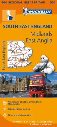 South East, Midlands, East Anglia Michelin 504 - 1:400000