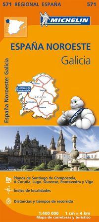 Galicia Michelin 571 delkarta Spanien : 1:400000