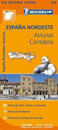 bokomslag Asturias Cantabria Michelin 572 delkarta Spanien : 1:250000